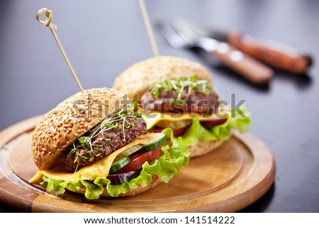 Two burgers with meat and greens - stock photo