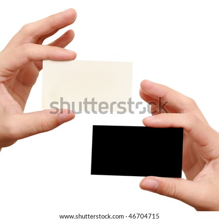 two business cards - white and black - stock photo
