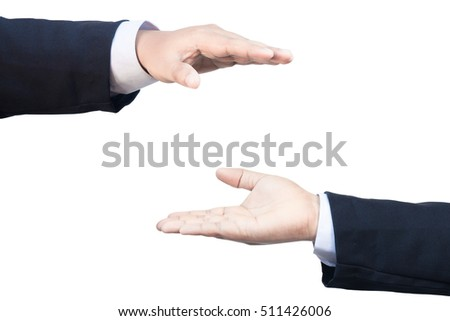 two business hand protect sign on isolate background