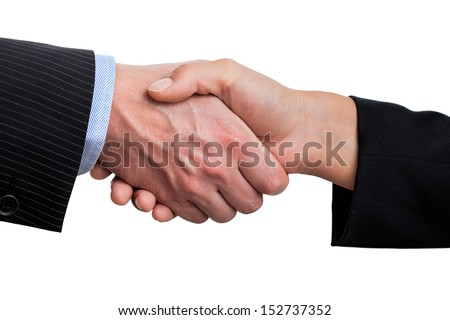 Two business hands in handshake, isolated background