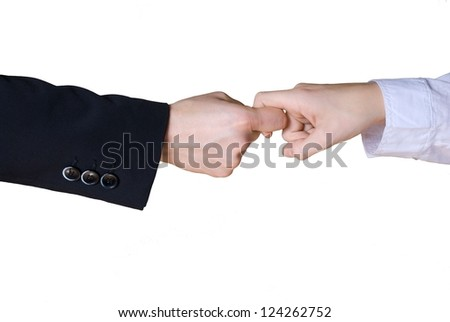 two business hands in rivalry - stock photo