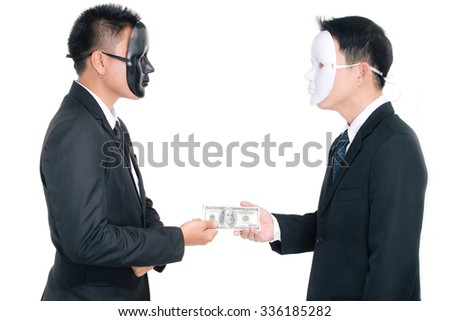 Two business man white masks and black masks isolated on white, che - stock photo