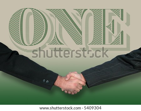 Two business men shake hands with dollar bill art as background - stock photo