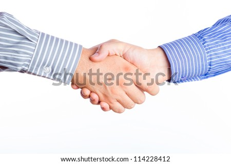Two business men shaking hands. - stock photo