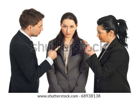 Two business people accuse her colleague and pointing to her  isolated on white background - stock photo