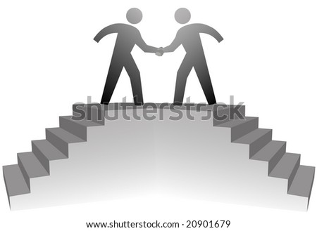 Two business people climb stairs to a podium to shake hands on deal. - stock photo