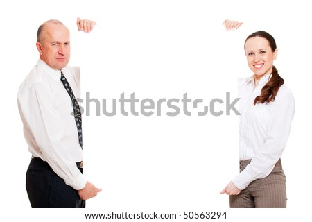 two business people holding empty billboard. isolated on white background - stock photo