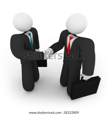 Two business people holding suitcases shake hands