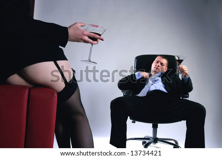 two business people in leisure time on work - stock photo