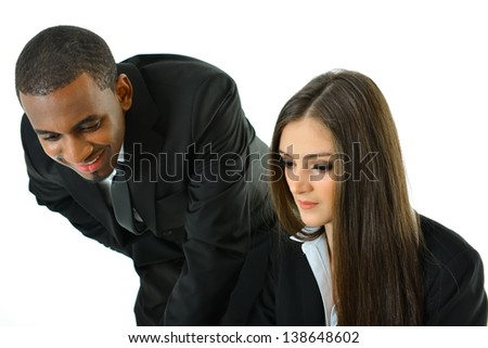 Two Business People Working - stock photo