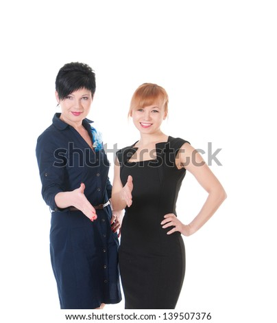 Two business women giving hand to handshake.
