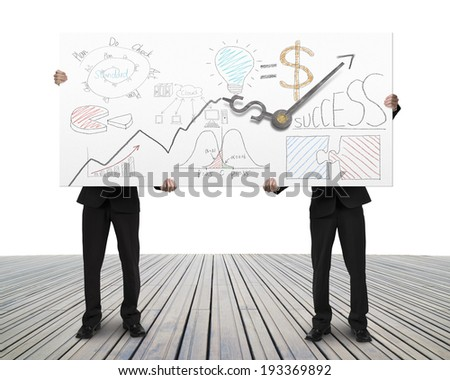 Two businessman lifting board with clock hands and business doodles - stock photo