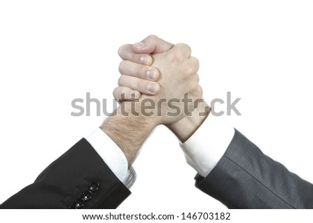 Two businessman shaking hands as a result of a good deal/successful investment.../Deal! - stock photo