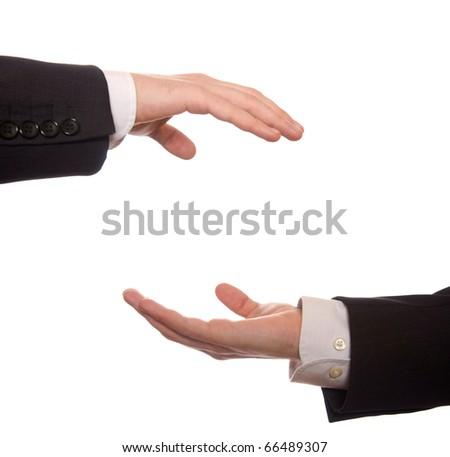 two businessman share something isolated on white - stock photo