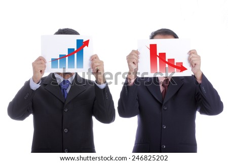Two businessman show growm performance with white background - stock photo