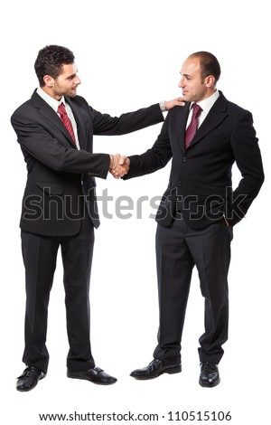 Two Businessman standing on a white background - stock photo