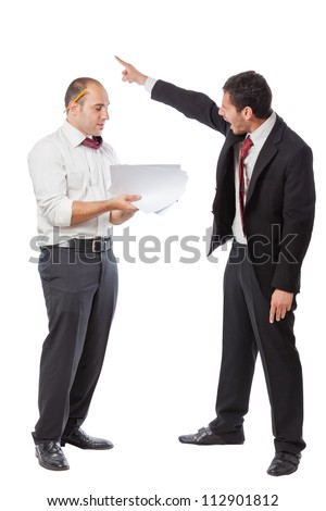 Two Businessman standing on a white background and carrying heavy boxes