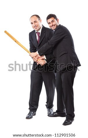 Two Businessman standing on a white background holding together a baseball bat - stock photo