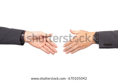 Two businessmans going to make handshake and deal for their business and future success