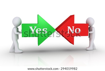 Two businessmen are pushing arrows on opposite direction with the Yes and No words - stock photo