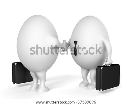 Two businessmen characters with a briefcases shaking hands. 3D illustration isolated on white background.