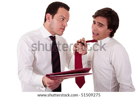 two businessmen discussing because of work, pointing to a document and pull the tie, isolated  on white background. Studio shot - stock photo