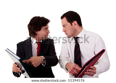 two businessmen discussing because of work, pointing to a document, isolated on white background - stock photo