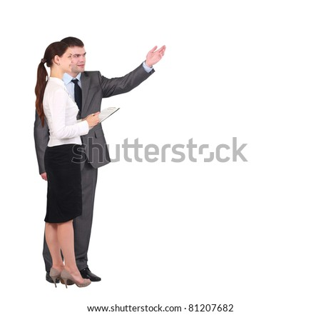 Two businessmen discussing - Isolated studio picture in high resolution - stock photo