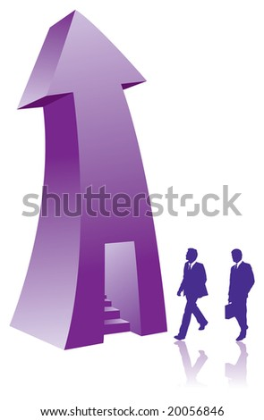 Two businessmen enter a stairway in an arrow - stock photo