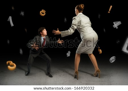 two businessmen fighting as sumoists, the concept of competition in business - stock photo