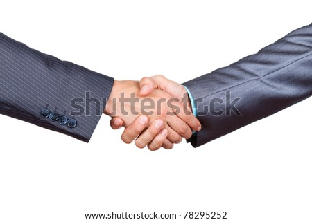Two businessmen hands in elegant suits handshake isolated on white background, with empty copy space. Communication, greeting, agree, congratulation meeting concept. - stock photo