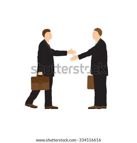 Two businessmen. Handshake. Greeting. Congratulation. Conclusion of the contract.  - stock photo