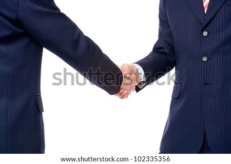 Two businessmen in formal suits shaking hands