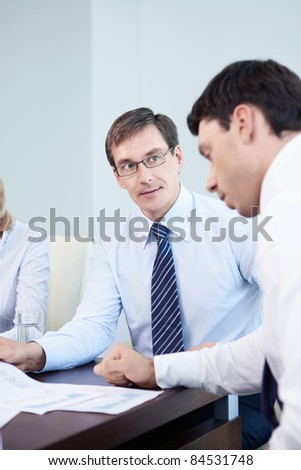 Two businessmen in the office - stock photo
