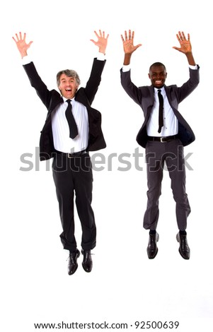 two businessmen jumping - stock photo