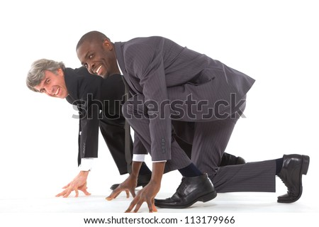 two businessmen on the grid - stock photo