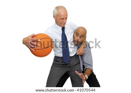 Two businessmen playing basketball isolated in white - stock photo