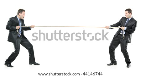 Two businessmen pulling a rope isolated on white background - stock photo