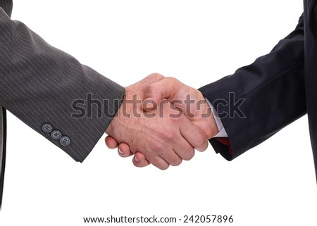 Two businessmen shaking hands with a firm handshake, isolated on white - stock photo