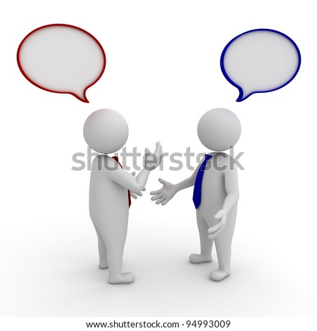 Two businessmen standing and talking with speech bubbles on white background - stock photo