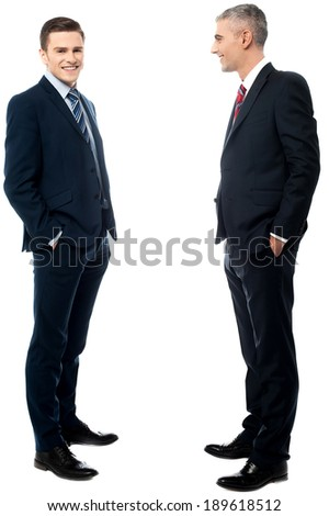 Two Businessmen standing on a white background - stock photo