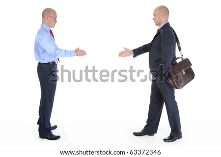Two businessmen stretched out their hands for a handshake. Isolated on white background - stock photo