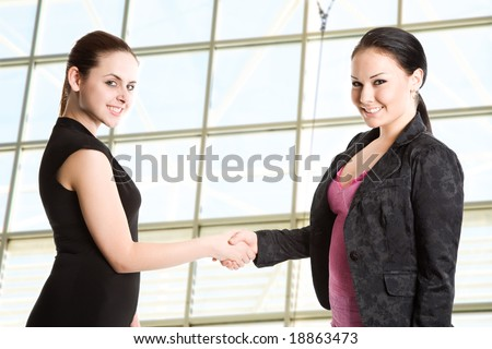 Two businesswomen shaking hands in the office - stock photo
