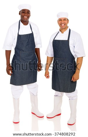 two butchers isolated on white  - stock photo