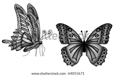 Two buterflies tattoo - stock photo
