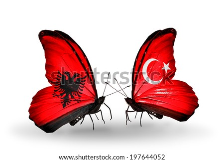 Two butterflies with flags on wings as symbol of relations Albania and Turkey - stock photo