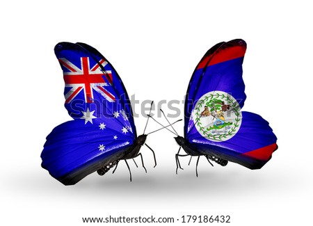Two butterflies with flags on wings as symbol of relations Australia and Belize
