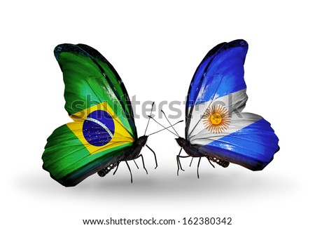 Two butterflies with flags on wings as symbol of relations Brazil and Argentina - stock photo