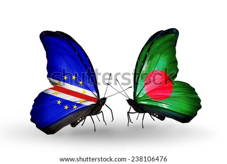 Two butterflies with flags on wings as symbol of relations Cape Verde and Bangladesh - stock photo
