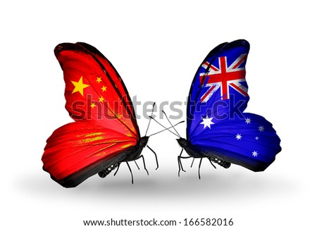 Two butterflies with flags on wings as symbol of relations China and Australia - stock photo